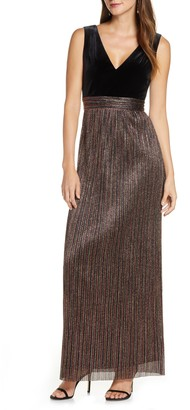 Vince Camuto Mixed Media Metallic Pleat Gown