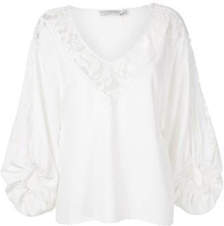 Martha Medeiros Giuliana lace panel blouse