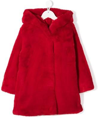 MonnaLisa Faux-Shearling Hooded Coat