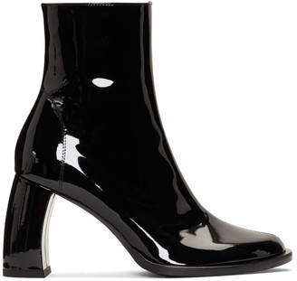 Ann Demeulemeester Black Patent Banana Heel Boots