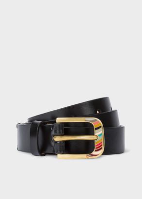 Paul Smith Women's Black 'Swirl' Gold Buckle Leather Belt