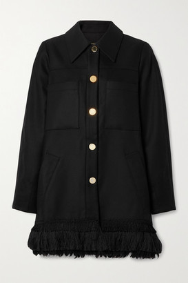 Mother of Pearl Fringed Tencel And Organic Cotton-blend Coat - Black