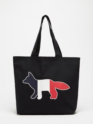 MAISON KITSUNÉ Tricolour Fox-print Canvas Tote Bag - Blue
