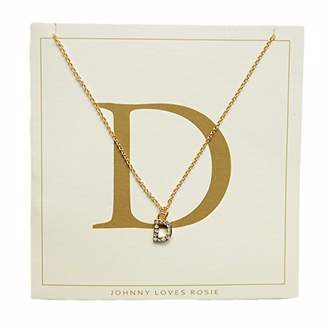 Johnny Loves Rosie Women Gold Plated Glass Chain Necklace of Length 48cm D Initial Gift Card