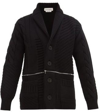 Alexander McQueen Double Zip Rib-knitted Wool Cardigan - Black Red