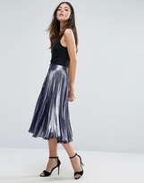 Warehouse Metallic Pleated Midi Skirt