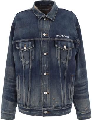 Balenciaga Embroidered Logo Denim Jacket