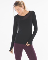 Soma Intimates Mesh Insert Long Sleeve Top Black