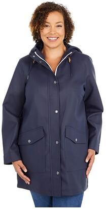 Levi's Plus Size Rubberized PU Fishtail Rain Parka Jacket (Navy) Women's Clothing