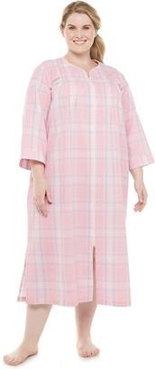 Miss Elaine Plus Size Essentials Seersucker Zip-Front Robe