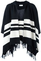Frame striped fringed cape coat