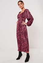 Missguided Pink Leopard Print Milkmaid Midi Dress