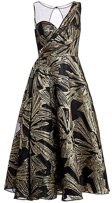 Theia Brocade Fit--Flare Cocktail Dress