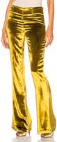 GALVAN Panne Velvet Trousers in Yellow.