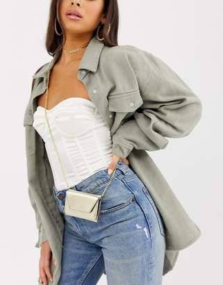 Asos Design DESIGN mini purse with detachable chain strap-Gold