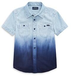 Ralph Lauren Polo Boys' Dip Dye Chambray Short Sleeve Shirt - Little Kid