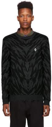 Marcelo Burlon County of Milan Black and Grey Zebra Crewneck Sweater