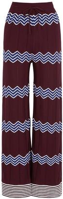 M Missoni Bordeaux zigzag cotton-blend trousers