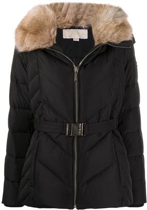 MICHAEL Michael Kors Faux-Fur Trimmed Collar Jacket