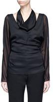Lanvin Cowl neck chiffon sleeve silk cady top