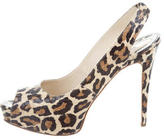Brian Atwood Embossed Peep-Toe Pumps