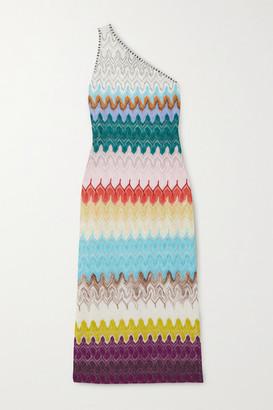 Missoni One-shoulder Metallic Crochet-knit Midi Dress - White