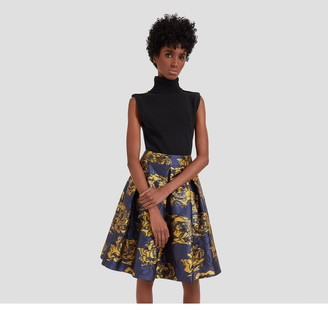 Mulberry Leona Skirt Bright Navy Floral Jacquard