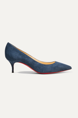Christian Louboutin Kate 55 Suede Pumps - Navy