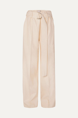 Stand Studio Alaina Belted Faux Leather Wide-leg Pants - Cream
