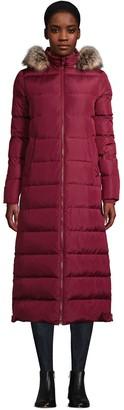 Lands' End Petite Faux-Fur Hood Quilted Long Down Winter Coat