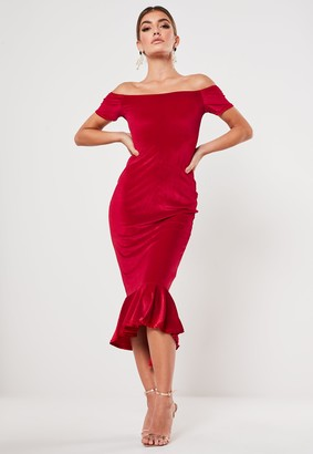 Missguided Red Velvet Bardot Fishtail Midi Dress