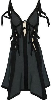 Herve Leger Abby Satin-trimmed Tie-detailed Jacquard Mini Dress