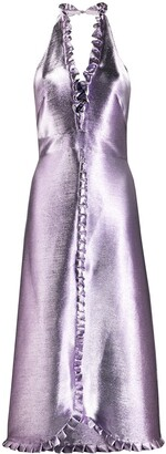 Temperley London Metallic Halterneck Midi Dress