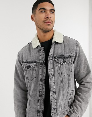 YUFAN Boys Blue Hoodie Jacket Denim Jean Jacket with Grey Hood
