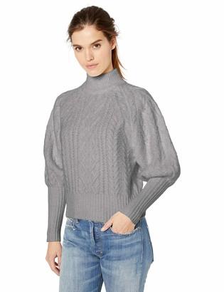 BCBGMAXAZRIA Women's Balloon Sleeve Cable Knit Turtleneck Sweater