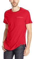 Southpole Men's Basic Color Tee with Scallop Bottom and Side Zipper Details