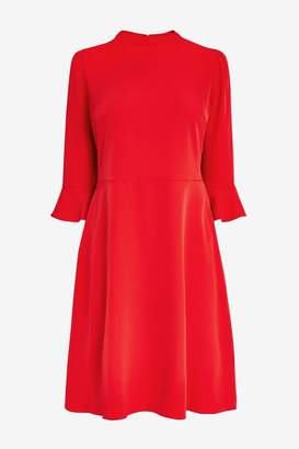 Next Womens Red Flute Sleeve Dress - Red