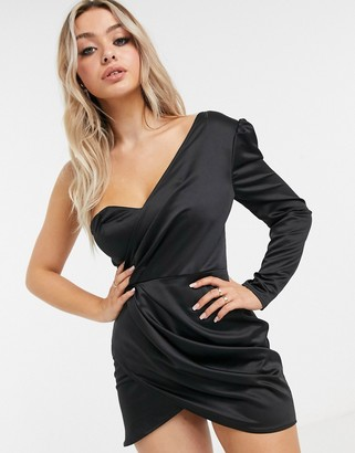 I SAW IT FIRST satin one-shoulder blazer dress in black