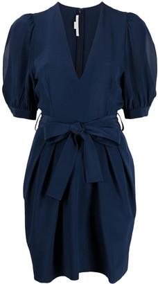 Stella McCartney deep V-neck puff-sleeve tulip dress