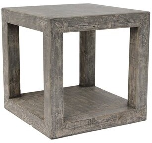 World Menagerie Leyton Solid Wood Block End Table
