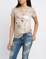 Charlotte Russe Graphic Caged-Front Tee