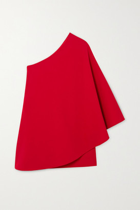 Valentino One-sleeve Cape-effect Wool-blend Crepe Mini Dress - Red