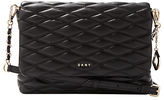 DKNY Nappa Leather Quilted Medium Flapover Cross Body, Black