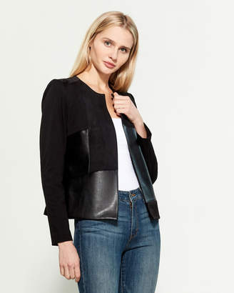 Calvin Klein Mixed Media Open Front Jacket