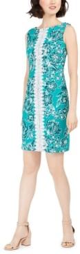 Pappagallo Lace-Trim Printed Sheath Dress