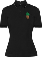 Dolce & Gabbana Appliquéd Cotton-piqué Polo Shirt - Black