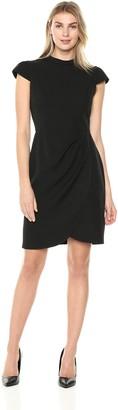 Lark & Ro Women's Cap Sleeve Mockneck Ruched Dress