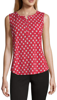 Liz Claiborne Womens Henley Neck Sleeveless T-Shirt