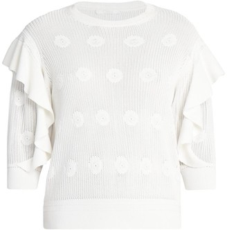 Chloé Ruffled Floral Knit Sweater