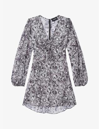The Kooples Floral-print V-neck crepe mini dress